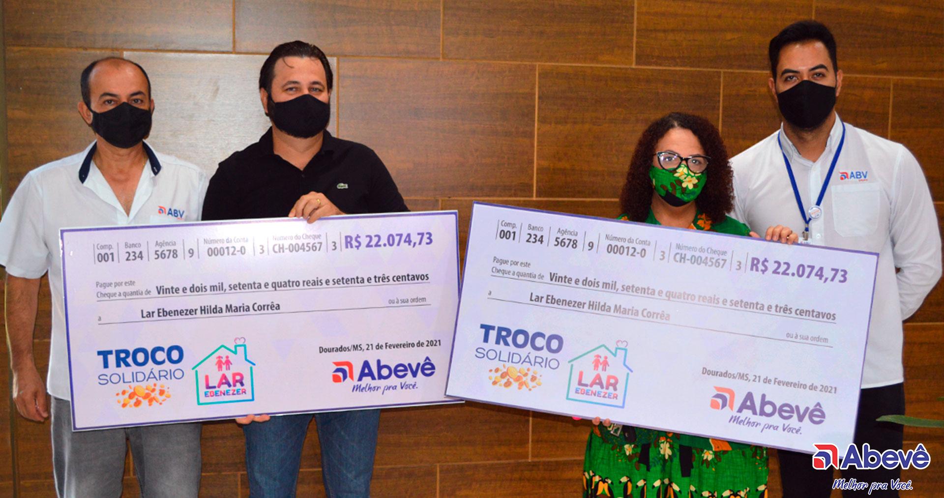 Abevê entrega R$22.074,73 da campanha Troco Solidário